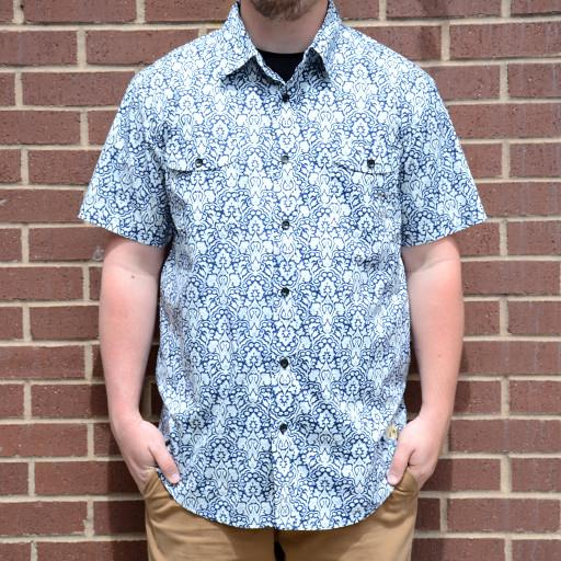 White Paisley Button Up Short Sleeve