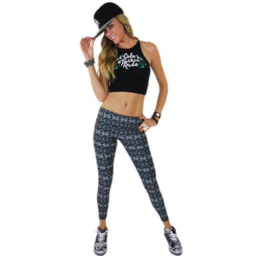 Women's Black Aztec Surf Leggings - Grassroots California