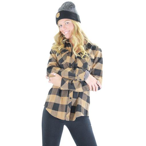 Women's Black Brown Flannel