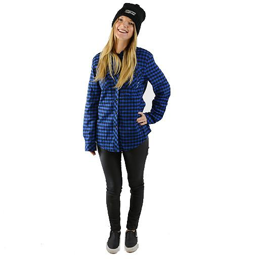 Womens Blue Black Checker Flannel