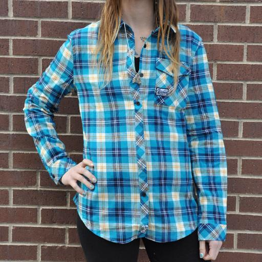 Women's Blue Teal Flannel 2015
