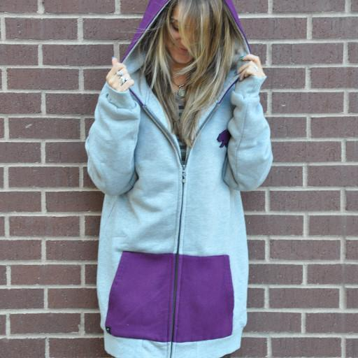 Bear Collection Slim Fit Gray Purple Removable Bear Hoodie