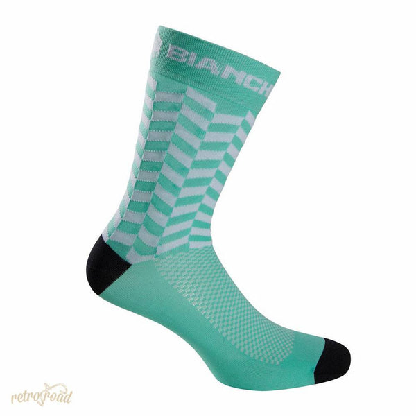 Bianchi Cesere Socks - Celeste/White - Retro Road