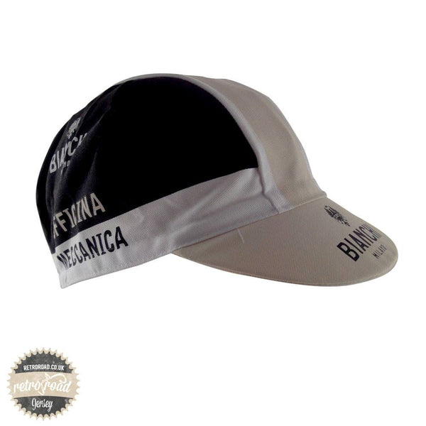 "Bianchi Neon ""Officina Meccanica"" Black/Beige Cotton Cap - Retro Road"