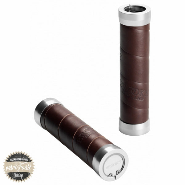 Brooks Slender Leather Grips - Brown - Retro Road  - 1