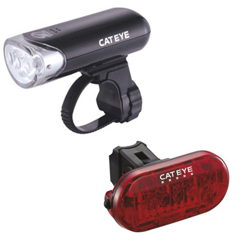 Cateye EL135 Front Light & Omni 5 Rear Light Set - Retro Road