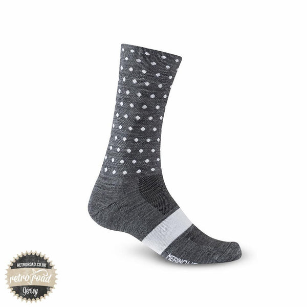 Giro Merino Seasonal Wool Cycling Socks - Charcoal/White Dot - Retro Road