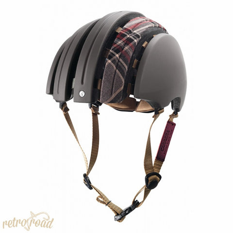 John Boultbee Special Carrera Folding Helmet - Grey/Burgundy - Retro Road  - 2
