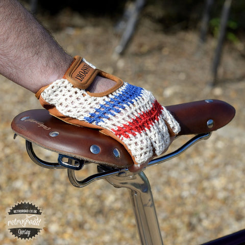 Crochet Back Cycling Mitts - Classic Cream - Retro Road  - 2