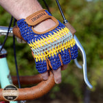Crochet Back Cycling Mitts - The Light Blue - Retro Road  - 2