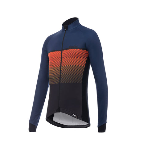 Santini Epic Winter Long Sleeve Jersey - Blue - Retro Road