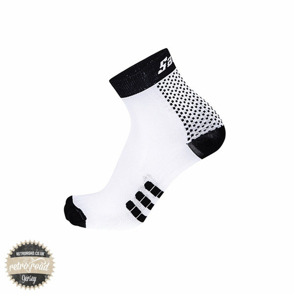 Santini One Low Profile Carbon Socks - White - Retro Road