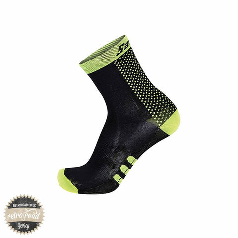 Santini One Low Profile Carbon Socks - Yellow/Black - Retro Road