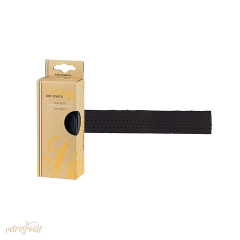 Selle San Marco Vintage Leather Handlebar Tape - Black - Retro Road