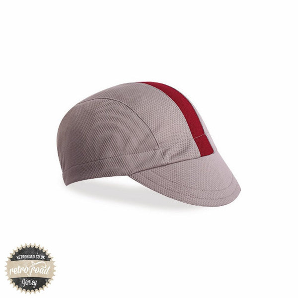 Walz Classic Wicking Cap - Grey/Burgundy - Retro Road