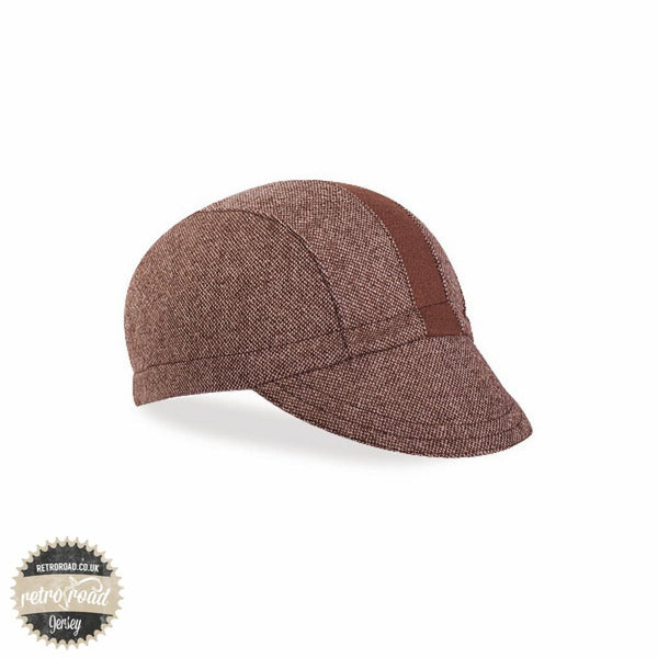 Walz Wool Race Stripe Cap - Brown Tweed - Retro Road