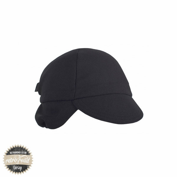 Walz Wool Cap With Flaps - Black - Retro Road