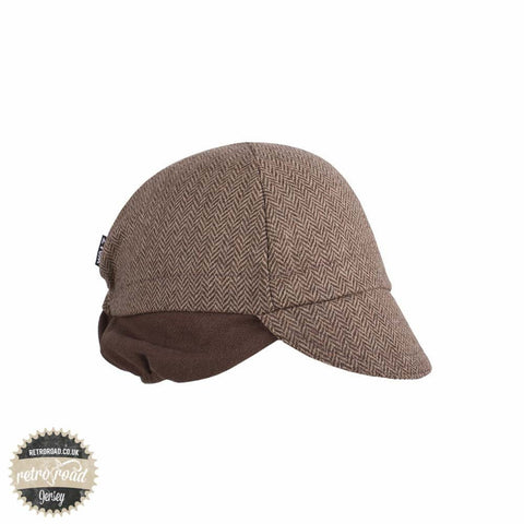Walz Wool Cap With Flaps - Brown Herringbone - Retro Road