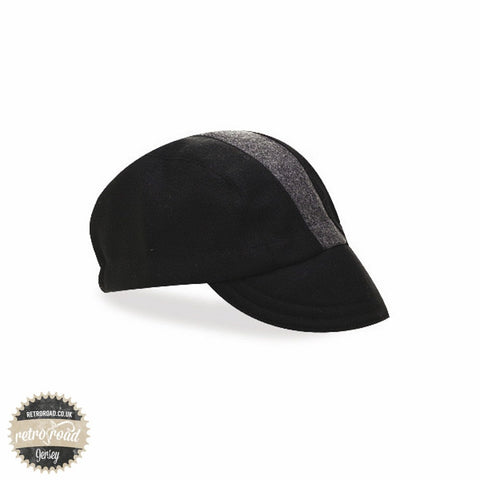 Walz Wool Race Stripe Cap - Black/Grey - Retro Road