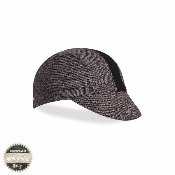 Walz Wool Race Stripe Cap - Black Tweed/Black - Retro Road