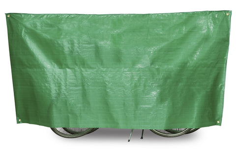"VK ""Super Duo"" Waterproof Lightweight Contoured Two Bicycle Cover Incl. 5m Cord in Green - Retro Road"