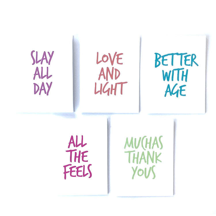 Fun bright blank notecard set. Congratulations slay thank you birthday get well love friendship.