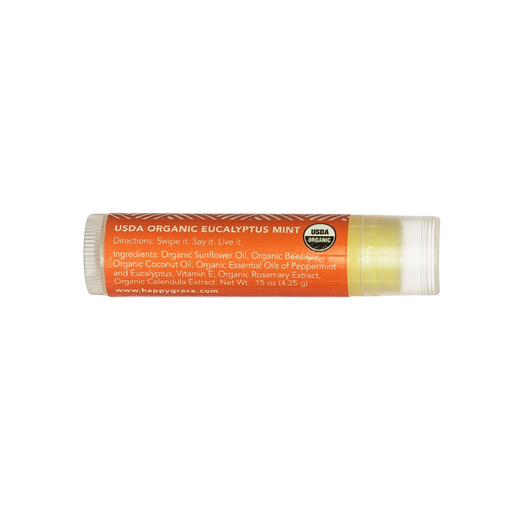 Organic lip balm. Gluten-free. Eucalyptus. Nourish dry lips. Self-care.
