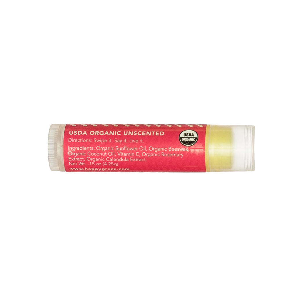 Organic lip balm. Gluten-free. Unscented. Nourish. Self-care.