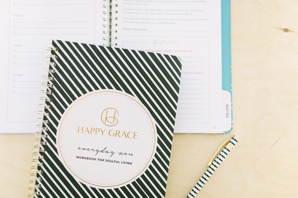 Everyday Zen workbook journal for a happy balanced life. Life coach tips and tools. Gratitude, intention, reflection.