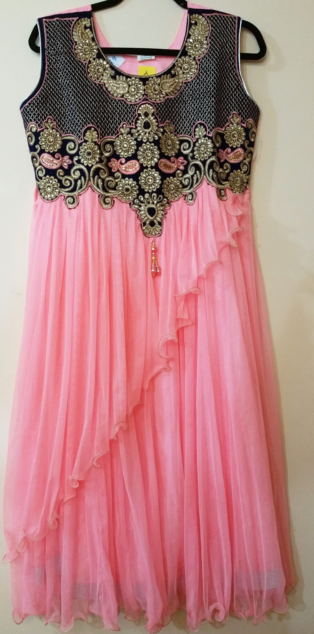 Pink / Blue Embroidery Churidar Size: XL (163)