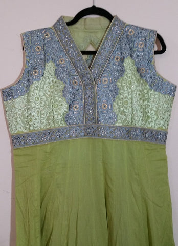 Green/Grey Embroidery Churidar Size: XL  (165)