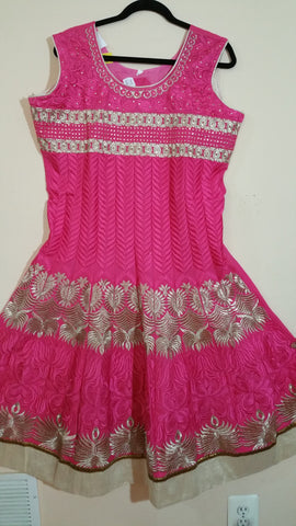 Pink / Gold Embroidery Churidar Size: XL (114)