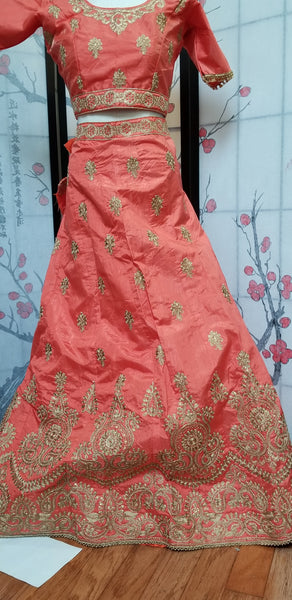 Lehanga - Orange with Pink, Cream embroidery