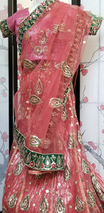 Lehanga - Pink and Green embroidery