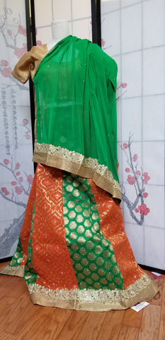 Lehanga - Green and Orange with Gold patterns