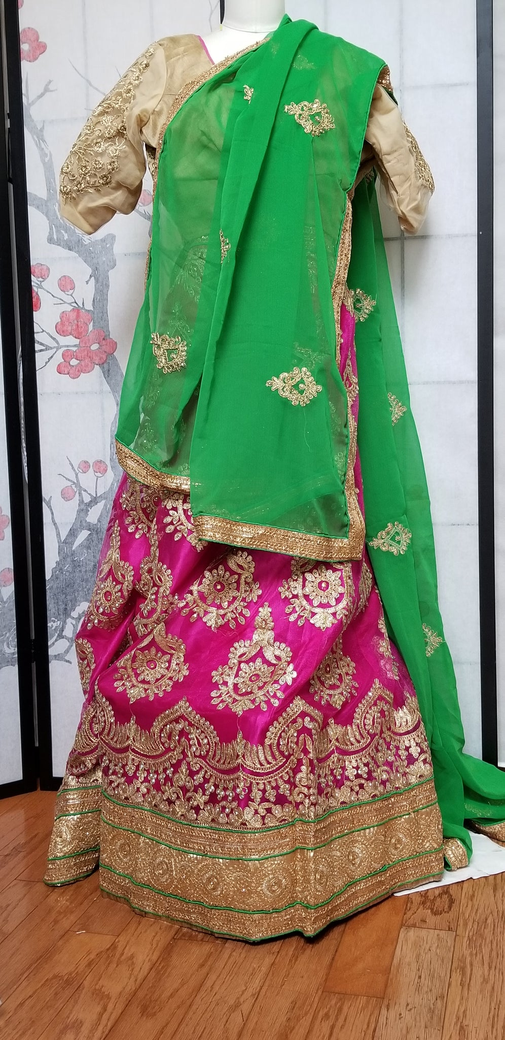 Lehanga - Green with Pink, Gold embroidery