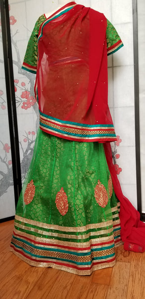 Lehanga - Green with Red embroidery