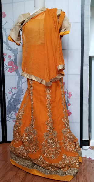 Lehanga - Orange with Cream embroidery