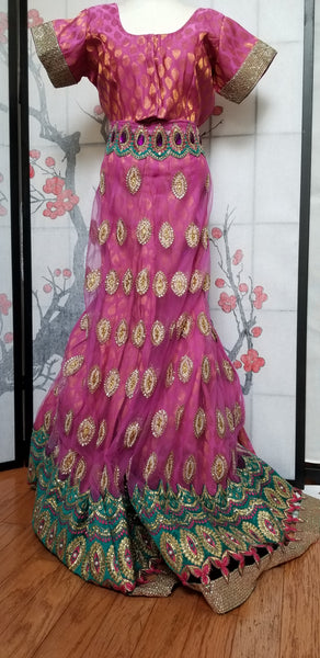 Lehanga - Dark Pink with Green and Cream embroidery