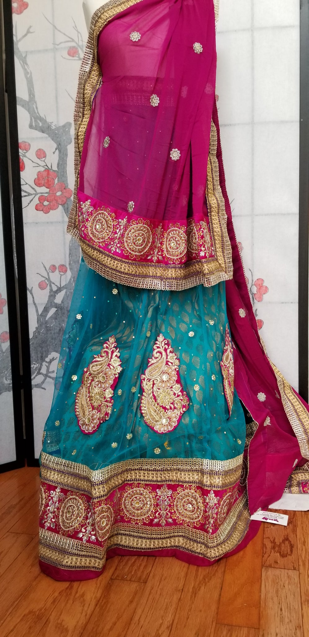Lehanga - Light Blue with Purple embroidery