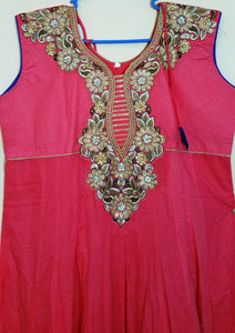 Pink and Blue with Embroidary Churidar -XXL (504)