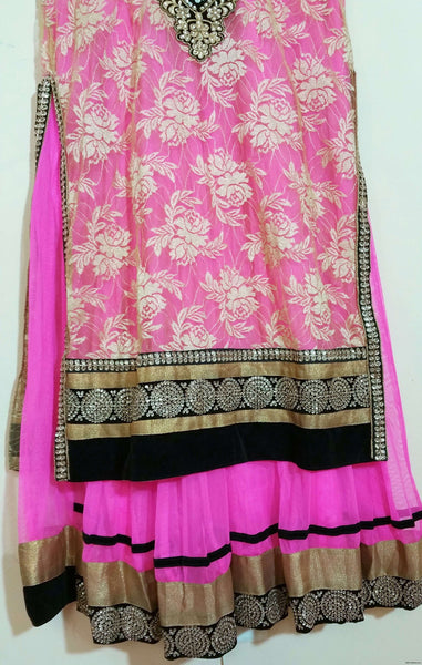 Pink, Gold Embroidery Churidar  -XXL  (114)