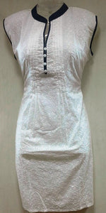 Kurthi  - White, Self Embroidary (Medium, Large, Extra Large) - 503
