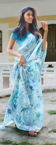 Floral Saree - Blue