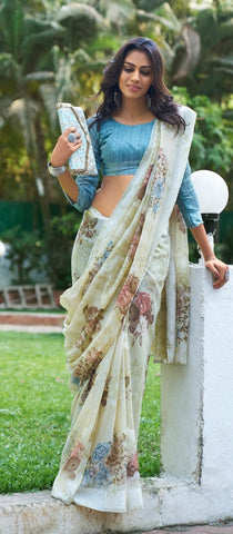 Floral Saree - Green