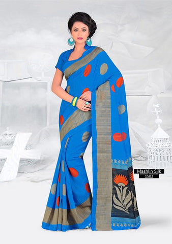 SAREE - Printed, Mulit-color, Mashlin Silk  Catalog 1503
