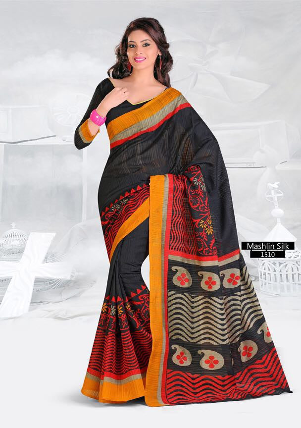 SAREE - Printed, Mulit-color, Mashlin Silk  Catalog 1510