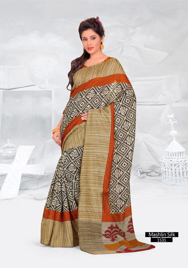 SAREE - Printed, Mulit-color, Mashlin Silk  Catalog 1531