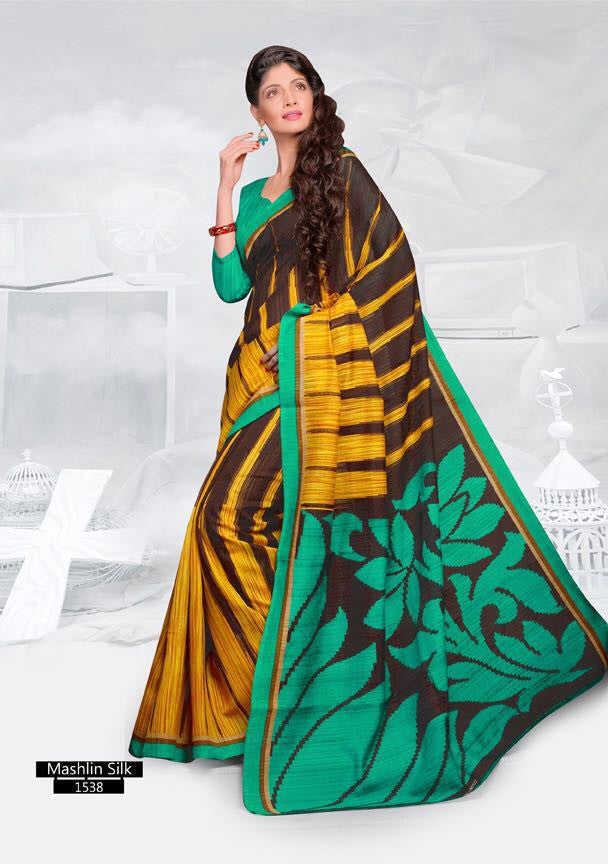 SAREE - Printed, Mulit-color, Mashlin Silk  Catalog 1538