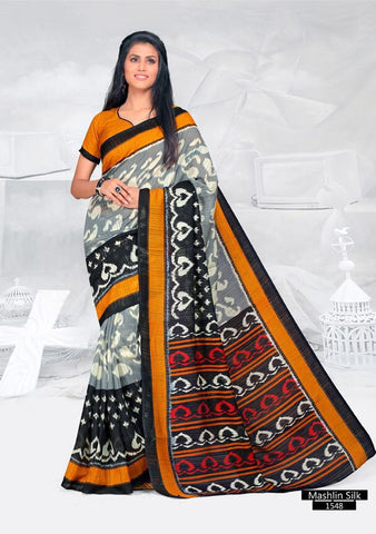 SAREE - Printed, Mulit-color, Mashlin Silk  Catalog 1548